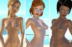 Spielen Porno Spiele mit 3D lesbischen Sex