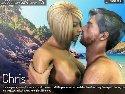 Erotische abenteuer spiel mit kussen am strand